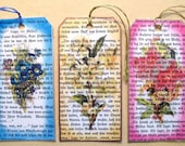3 Floral Gift Tags Pink Blue Yellow Handmade