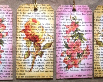 4 Large Floral Gift Tags