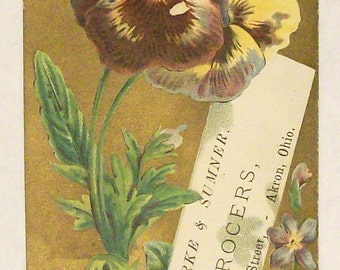Victorian Trade Card Floral with Pansies