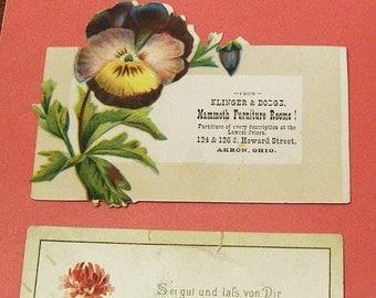 3 Vintage Floral Trade Cards
