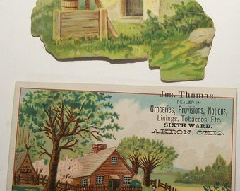 2 Vintage Trade Cards with Cottage Scenes