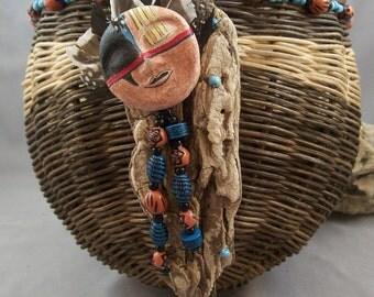 OOAK Native Style Basket & Driftwood Art Doll