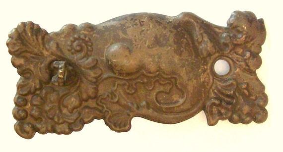 Antique Stamped Brass Drawer Pull Back