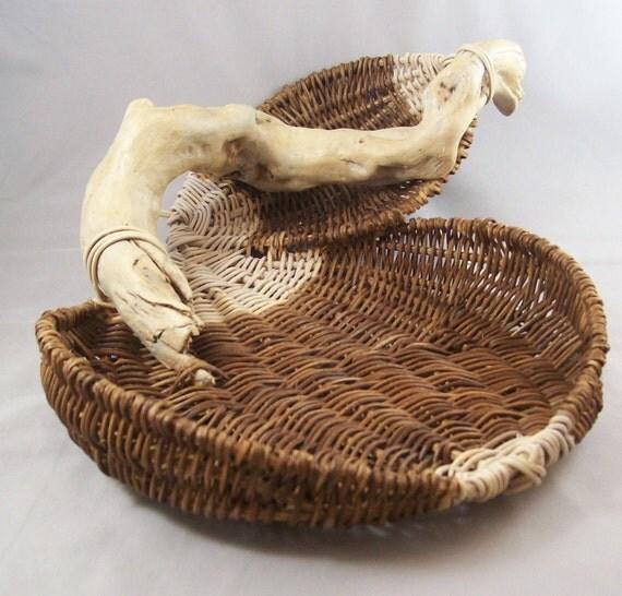 Sculptural Basket Driftwood Walnut Handmade Hand Woven