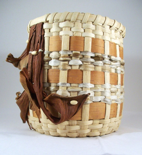 Decorative Birch Bark Basket Handmade Hand Woven