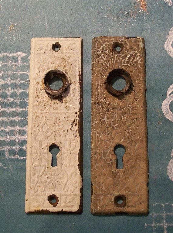 2 Vintage Antique Victorian Eastlake Escutcheons Doorknob Keyhole