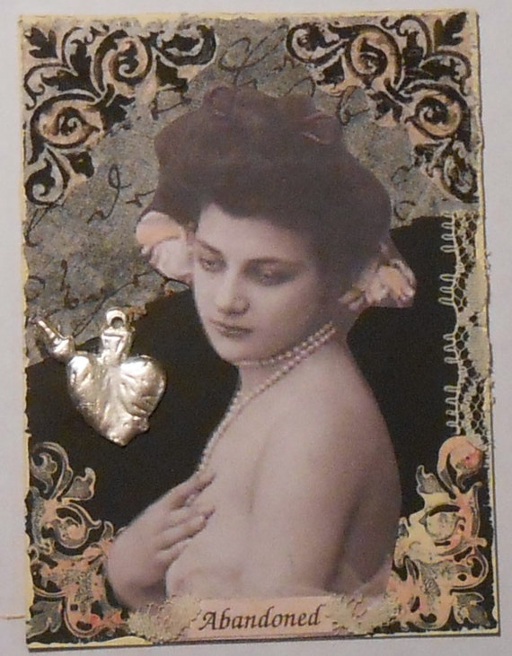 Original ACEO Goth Inspired Feminine Vintage Photo Black Cream
