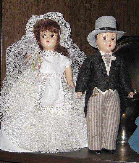 Composition Vintage BRIDE And GROOM Dolls