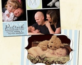 Sweet and Modern  Bracket Frame Birth Announcement