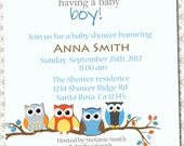 Owl Themed Shower Invitation