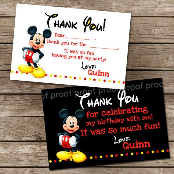 Coordinating Mickey Mouse Thank You Notes