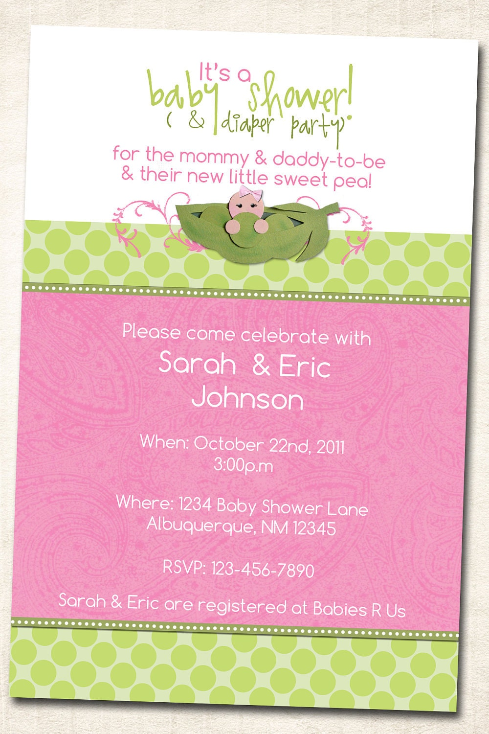 sweet pea in a pod baby shower invitation