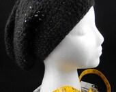 Super Floppy Oversized Crochet Beret in Black with Multicolor Sequins - OOAK