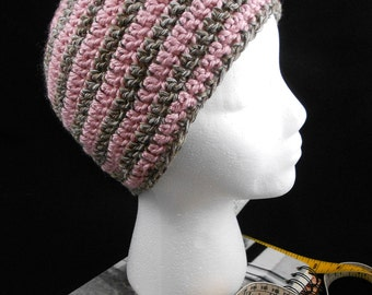 Simple Recycled Beanie in Pink and Brown/White - OOAK