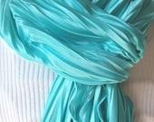Aqua Blue    Silky Ruffled Scarf