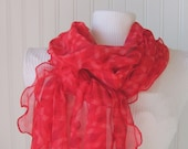 Scarlet Rose Sheer Scarf with Ruffles.....Valentine's Day Fashion