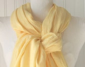 Buttercup Yellow Cotton Gauze Scarf.....Extra Long....New