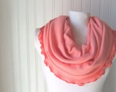 Soft Coral Ruffled Jersey Infinity Scarf...New