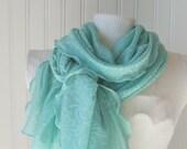 Floral Sheer Short Scarf - Seafoam Green