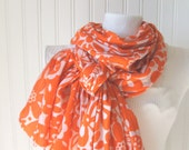 LAST ONE    Tangerine Floral Cotton Gauze Scarf   Extra Long