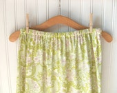 Paisley Jersey Skirt - Ruffled - Pear Green and Pink - Women's Size Small - Last One