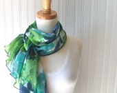 Watercolor Floral Sheer Scarf - Aqua Blue, Green, Blue Flowers Chiffon Spring and Summer Scarf