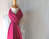 Raspberry Jersey Scarf - Cotton Jersey Pinkish Red Scarf - Fall and Winter Fashion