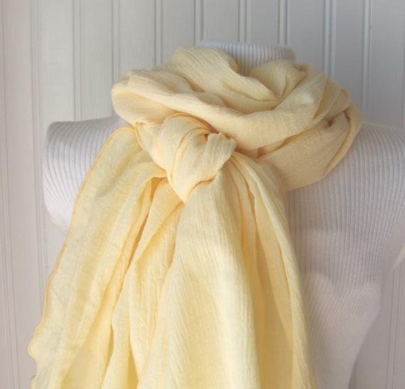 Lemon Cream.....Cotton Gauze Scarf.....New Spring Fashion