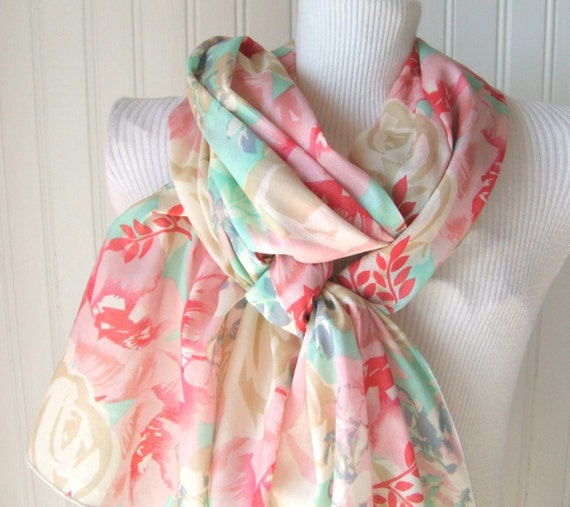 Cottage Roses Cotton Scarf in Mint and Pink....LAST ONE