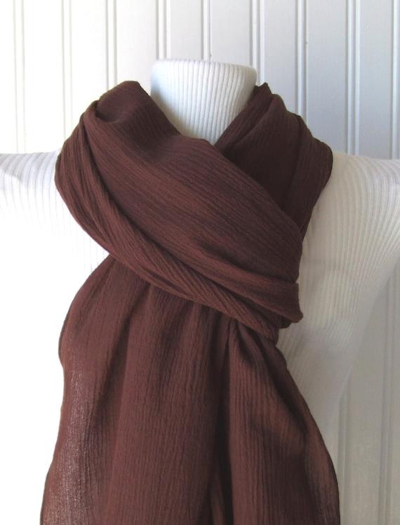 Dark Chocolate Cotton Gauze Scarf.....New
