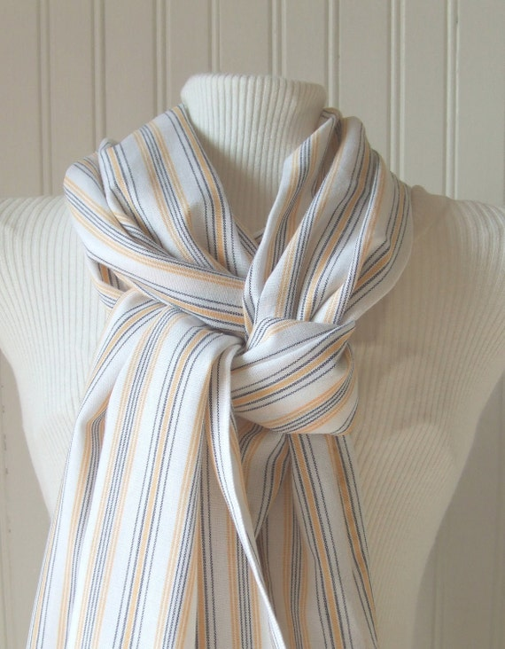 Striped Cotton Scarf in Navy and Sunny Yellow.....New