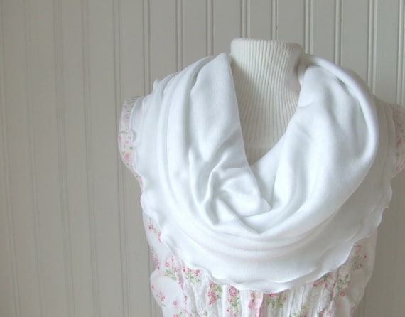 White Ruffled Jersey Infinity Scarf.....New