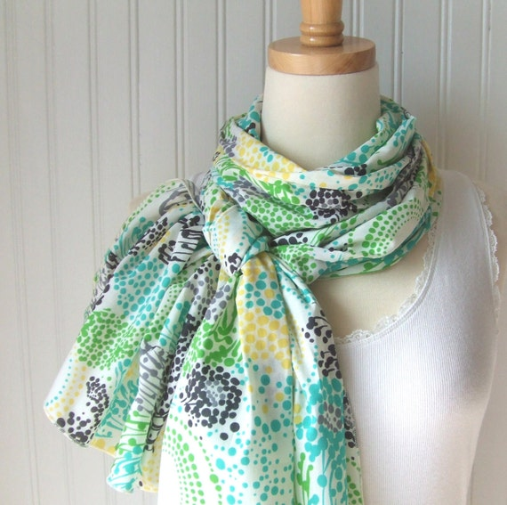 Summer Meadow Cotton Scarf   Extra Long   New