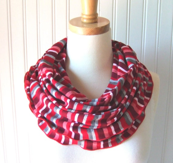 Stripe Infinity Scarf - Red and Heather Grey Striped Soft Circle, Loop, Cowl - New