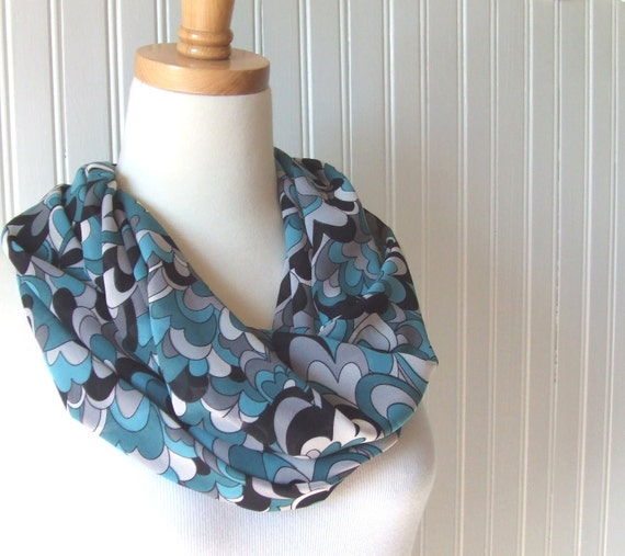 Chiffon Infinity Scarf - Cloudy Day in Teal Blue, Aqua and Black- New