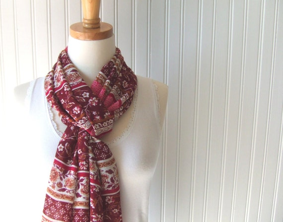 Cranberry Floral Sheer Scarf -  Red Fuchsia Cinnamon Flowers Summer Scarf - LAST ONE