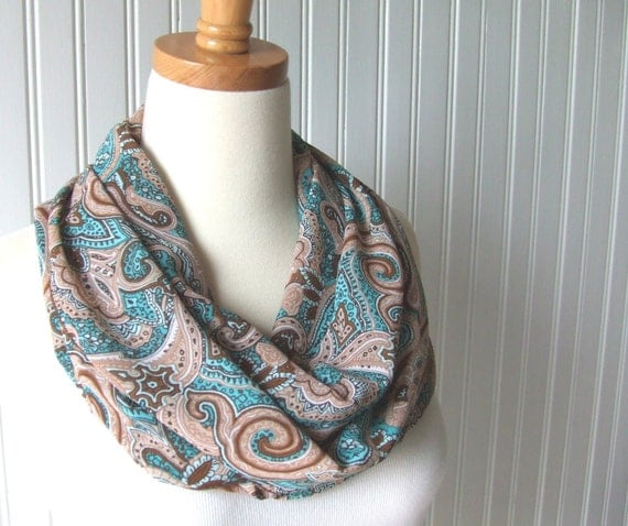 Paisley Infinity Scarf - Chiffon Scarf in Teal, Brown and Tan - New