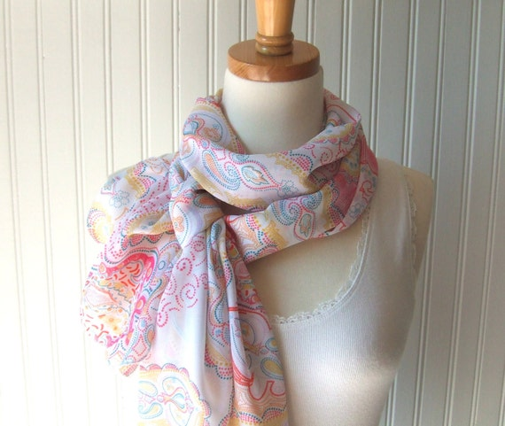 Paisley Chiffon Scarf - Pointillism Paisley in Citrus Colors - Orange, Yellow, Pink