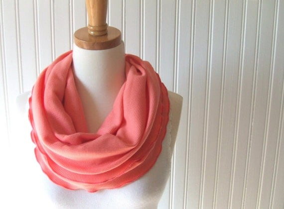 Soft Coral Infinity Scarf - Ruffled Cotton Jersey Cowl - Circle Scarf - Fall Fashion