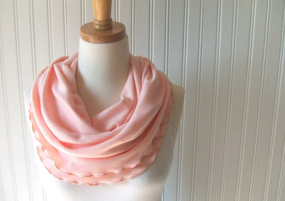 Fresh Peach Infinity Scarf - Cotton Jersey Ruffled Loop Scarf - New
