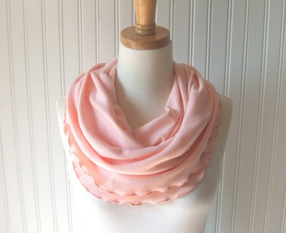 Fresh Peach Infinity Scarf - Cotton Jersey Ruffled Loop Cowl