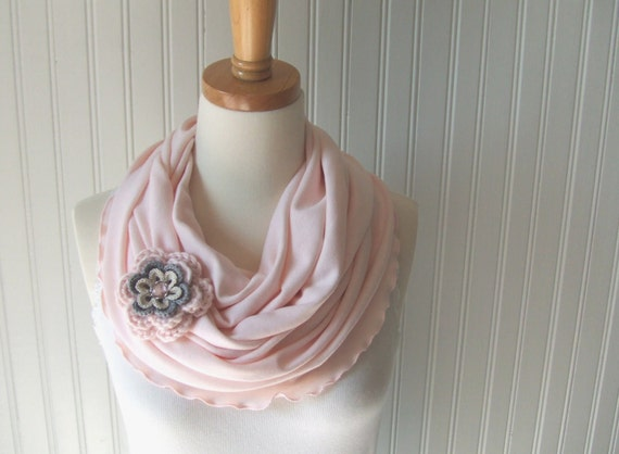 Pale PInk Infinity Scarf - Ruffled Cotton Jersey Circle Scarf with Flower Pin Brooch - Light Pink Cowl Spring or Summer Fashion - New