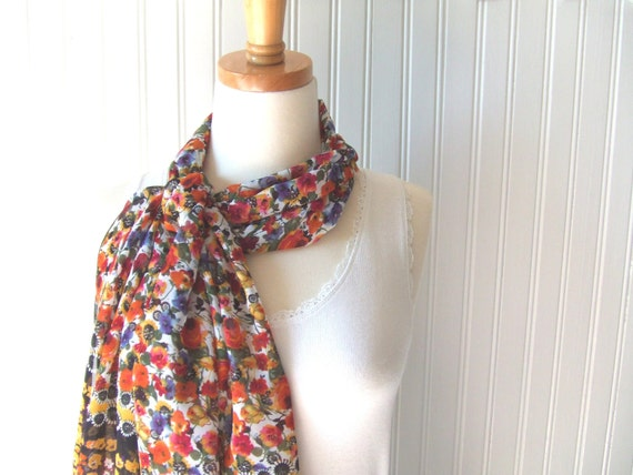 Floral Summer Scarf - Sheer Short Scarf - Flowers in Orange, Raspberry Red, Violet Purple, Sunny Yellow - Summer Fashion - New