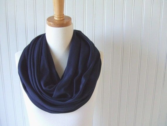 Navy Blue Infinity Scarf - Cotton Jersey Circle Scarf - Cowl, Loop Scarf - New