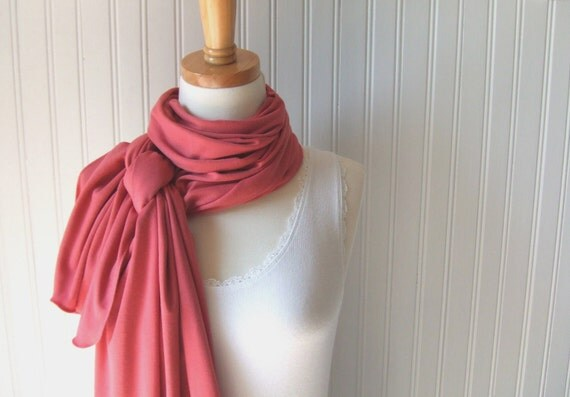 Antique Rose Jersey Scarf - Cotton Jersey Dark Salmon Scarf - Fall and Winter Fashion