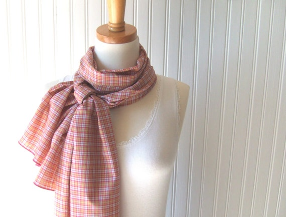 Plaid Cotton Scarf - Raspberry and Peach Long Summer Scarf