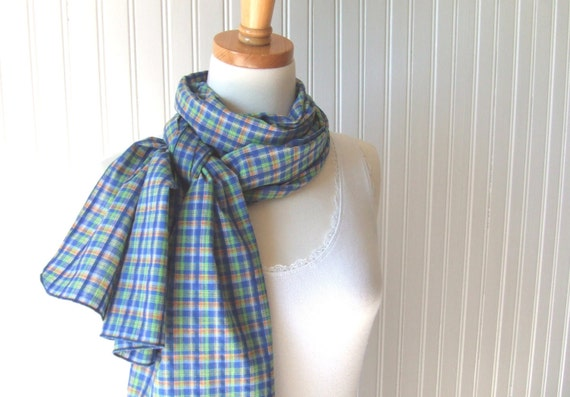 Plaid Cotton Scarf in Cobalt Blue and Lime Green - Extra Long