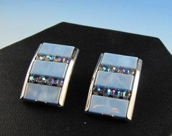 1950's Kramer Blue Thermoset Rhinestone Earrings