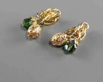 1960's Vendome Earrings Fern Green Crystal and Filigree