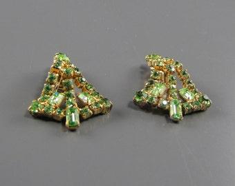 1950's Mint Green Rhinestone Earrings Wedding Jewelry